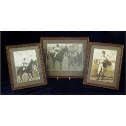 Gordon Richards, three framed photographs, two autographed and dated  1946, mounted in oak frames (3