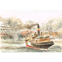 Dan Rainey (fl.1930s) - HISTORICAL BELFAST MARITIME AND SHIPPING WATERCOLOURS AND PEN AND INK DRAWIN