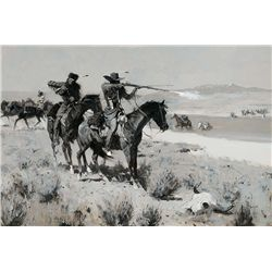 The Pack-Horse Men Repelling an Attack by Indians by Remington, Frederic