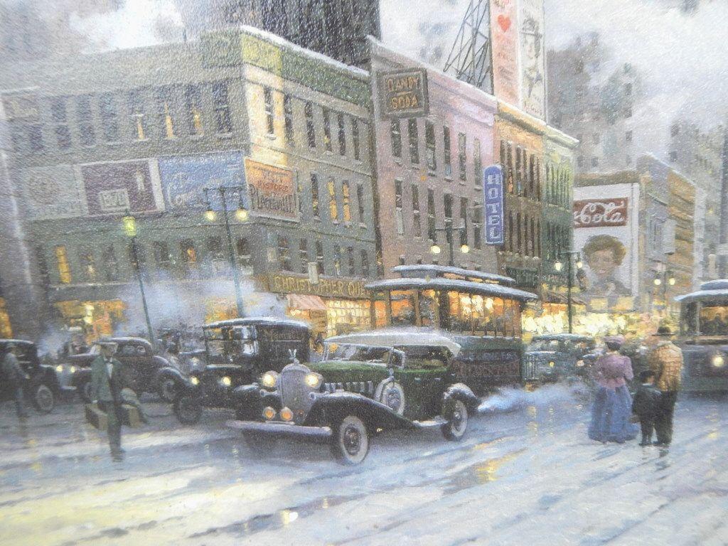 Обои street, winter, thomas kinkade, painting, 1932, snow, new york, snow on seventh avenue. Города foto 17
