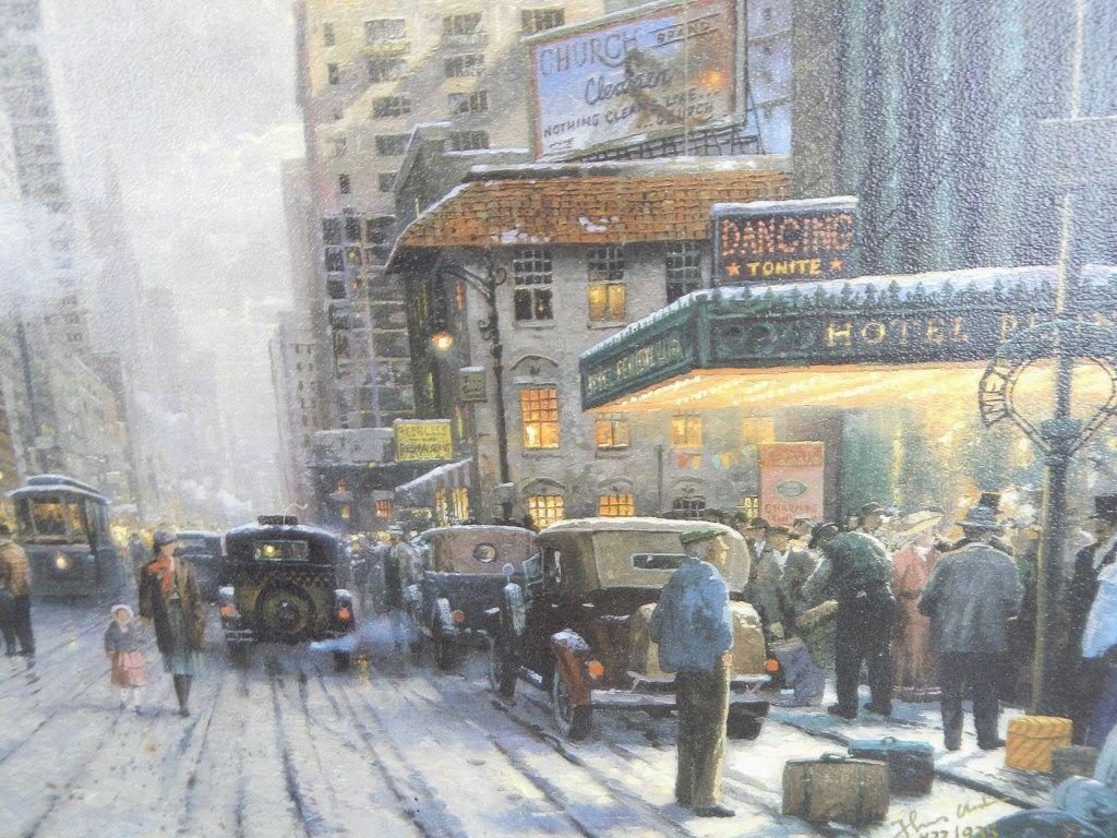 Обои street, winter, thomas kinkade, painting, 1932, snow, new york, snow on seventh avenue. Города foto 8