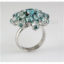 40.90CTW Flower Blue Zircon Cluster Silver Ring