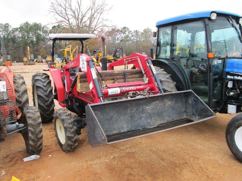 YANMAR FX26D 4X4 FARM TRACTOR, S/N 125911, 3 PT HITCH, KOYKER 155 FRONT END  LOADER ATTACHMENT, CANOP