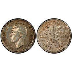1938 Threepence PCGS PR 63