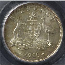 1910 Sixpence PCGS MS65