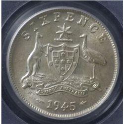 1945 Sixpence PCGS MS64