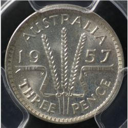 1957 Threepence PCGS MS66