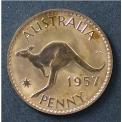 Australia 1957 Perth Penny Proof, Nice coin & above average