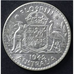 Australia 1942S & 1951 Florins , Nearly Uncirculated