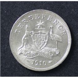 Australia 3 pence 1910 Choice Uncirculated
