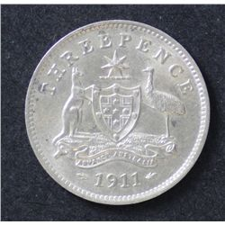 Australia 3 Pence 1911 Uncirculated