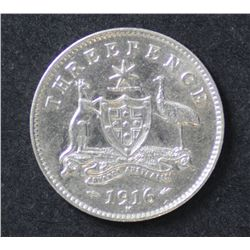 Australia 3 Pence 1916 Extremely Fine