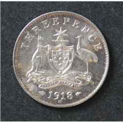 Australia 3 Pence 1918 Uncirculated