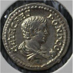 Ancient Rome , Geta Denarius , Seaby 7207