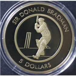 1996 Bradman Proof $5 and $5 1996 Uncirculated Coin