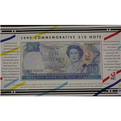 New Zealand $10 Commemorative Note 1990