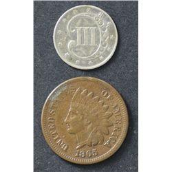 USA 1c 1865 VF, 3c 1852 VF
