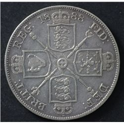GB Double florin 1888, VF, Crown 1937 Uncirculated