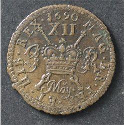 Irish Gun Money , Shilling May 1690