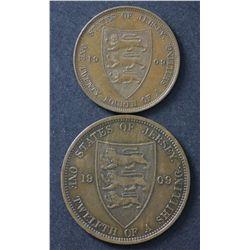 Jersey 1/12 Shilling 1909, 1/24 Shilling 1909