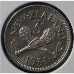 New Zealand 1934 Threepence