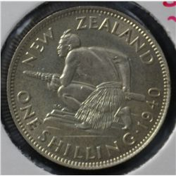 New Zealand Shilling 1940 Uncirculated
