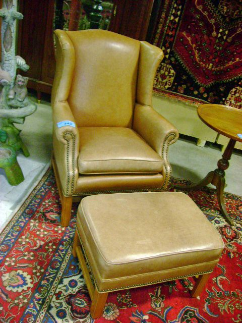 Remarkable Ethan Allen Leather Wingback Chair With Ottoman Short Links Chair Design For Home Short Linksinfo