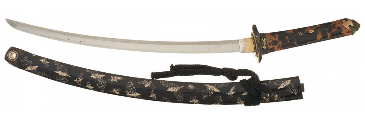 Interesting Sharply Curved Wakizashi with Turtle Shell Veneer Grip
