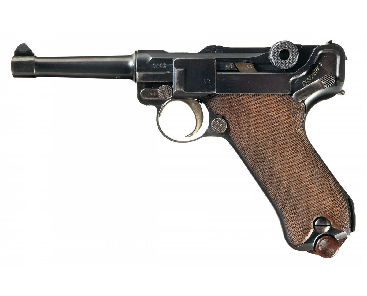 World War I Imperial German Army 1915 Dated DWM Model 1914 Military Luger  with Two Matching Magazine