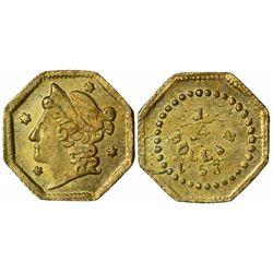 1853 octagonal ¼ Dollar, BG-102 Rarity 8, Die State III (rusty dies)