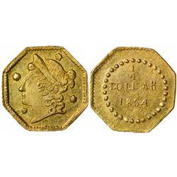1854 octagonal ¼ Dollar BG-104, Rarity 4