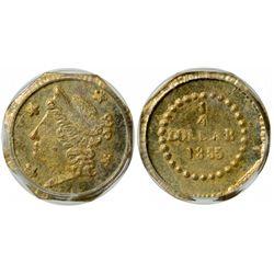 1855/4 octagonal ¼ Dollar BG-106, Die State II (rusty obverse die) Breen-Gillio Plate Coin