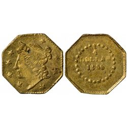 1856 FD octagonal ¼ Dollar BG-107, Low Rarity 4, Die State I