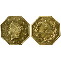 1854 octagonal ¼ Dollar, BG-109 High Rarity 5