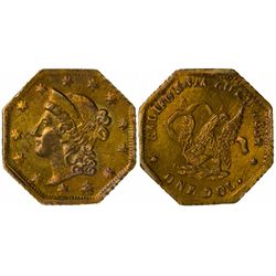 1854 octagonal One Dol., BG-504, Low Rarity 5 Eagle Reverse, Die State I (perfect reverse die).