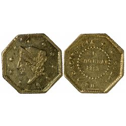 1853 FD octagonal 1 Dollar, BG-505, Rarity 4, Die State II (reverse polished, GOLD and ORN fragmente