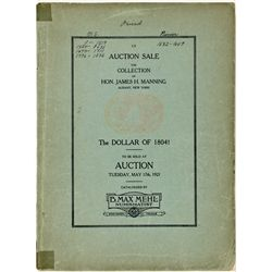 TX, Fort Worth--Large B. Max Mehl Catalog of Hon. James H. Manning Collection