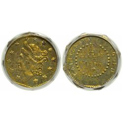 Large Liberty Head/ Value (1/2 Dollar) and Date in Beaded Circle, CALIFORNIA GOLD Around, BG-307 (18