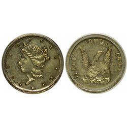 Unusual Liberty Head/Humbert Style Eagle Without Scroll, BG-436 (Eagle) (1854)