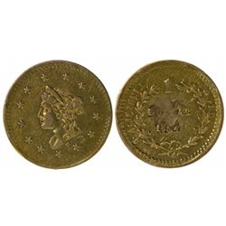 Small Liberty Head/Value and Date in Wreath, BG-603 (1854). Very Rare.