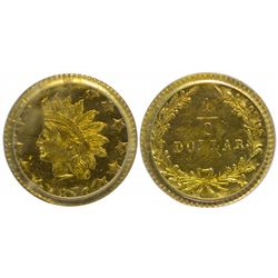 Large Indian Head, Date Below/Value in Wreath, BG-1064 (1876). Very Rare.