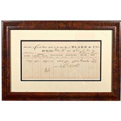 ID, Silver City-Owyhee County-Famous Western Assayer, Blake & Company Assay Receipt