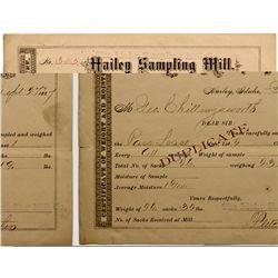 ID, Hailey-Blaine County-Hailey Mill Assay Receipt *Territorial*
