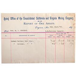 NV, Virginia City-Storey County-California & Virginia City Assay Report