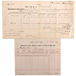 NV, Gold Hill-Storey County-Carson City Mint Receipts