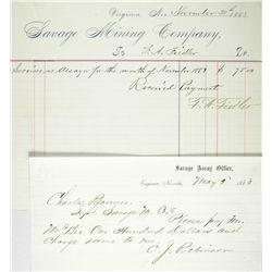 NV, Virginia City-Storey County-Savage Mining Assay Receipts