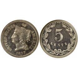 1867 Five Cent, Judd-570 R.5 PF64 NGC