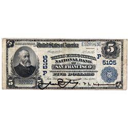 CA, San Francisco--$5 1902 PB Wells Fargo Nevada National Bank Charter #5105