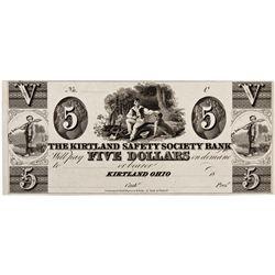 OH, Kirtland--The Kirtland Safety Society Bank $5 Remainder/Proof