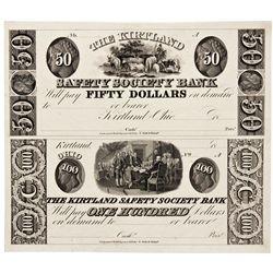 OH, Kirtland--The Kirtland Safety Society Bank $50/$100 Un-Cut Sheet Remainder/Proof